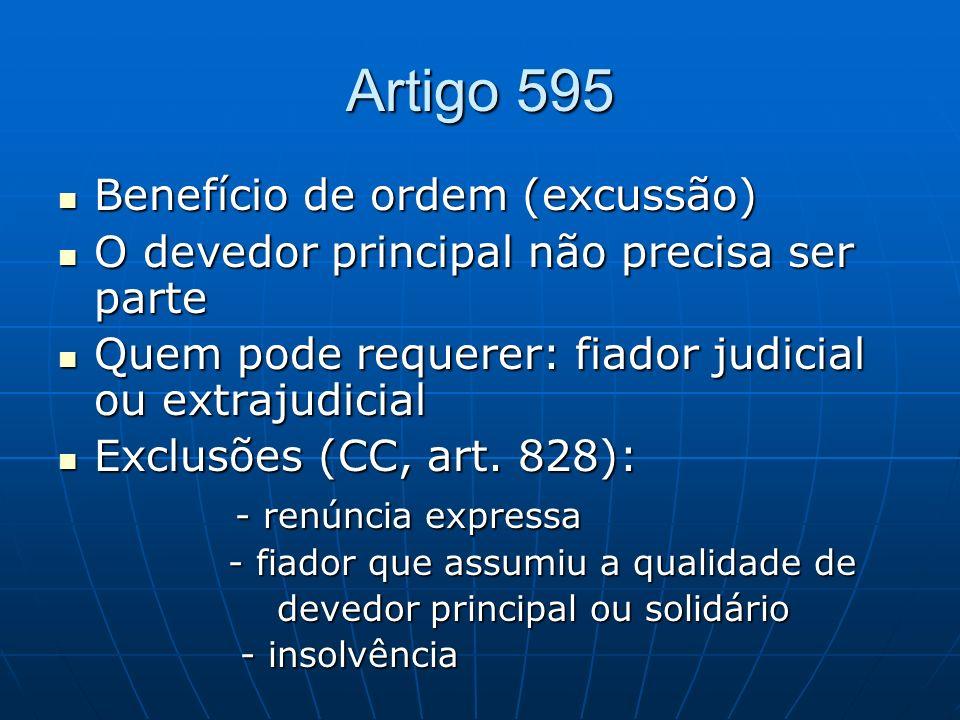 Artigo 595 Benefício de ordem (excussão)