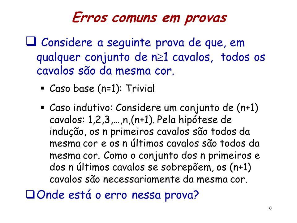 Erros comuns em provas Considere a seguinte prova de que, em qualquer conjunto de n1 cavalos, todos os cavalos são da mesma cor.
