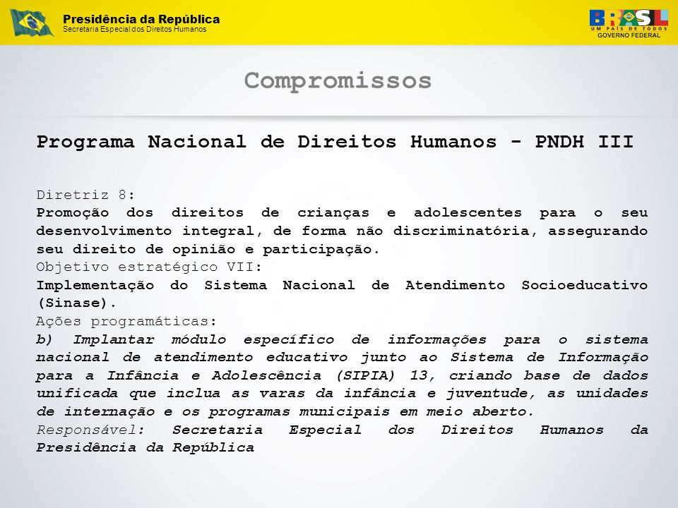 Compromissos Programa Nacional de Direitos Humanos - PNDH III