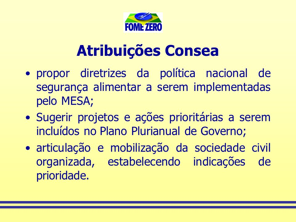 Atribuições Consea propor diretrizes da política nacional de segurança alimentar a serem implementadas pelo MESA;