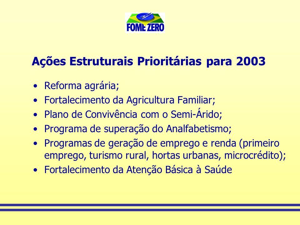 Ações Estruturais Prioritárias para 2003