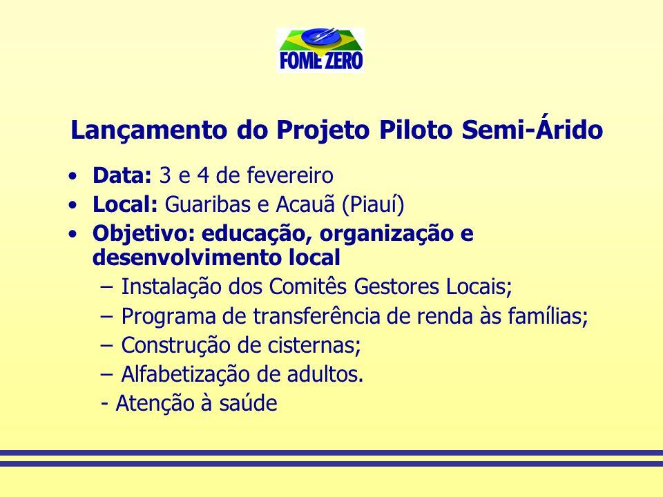 Lançamento do Projeto Piloto Semi-Árido