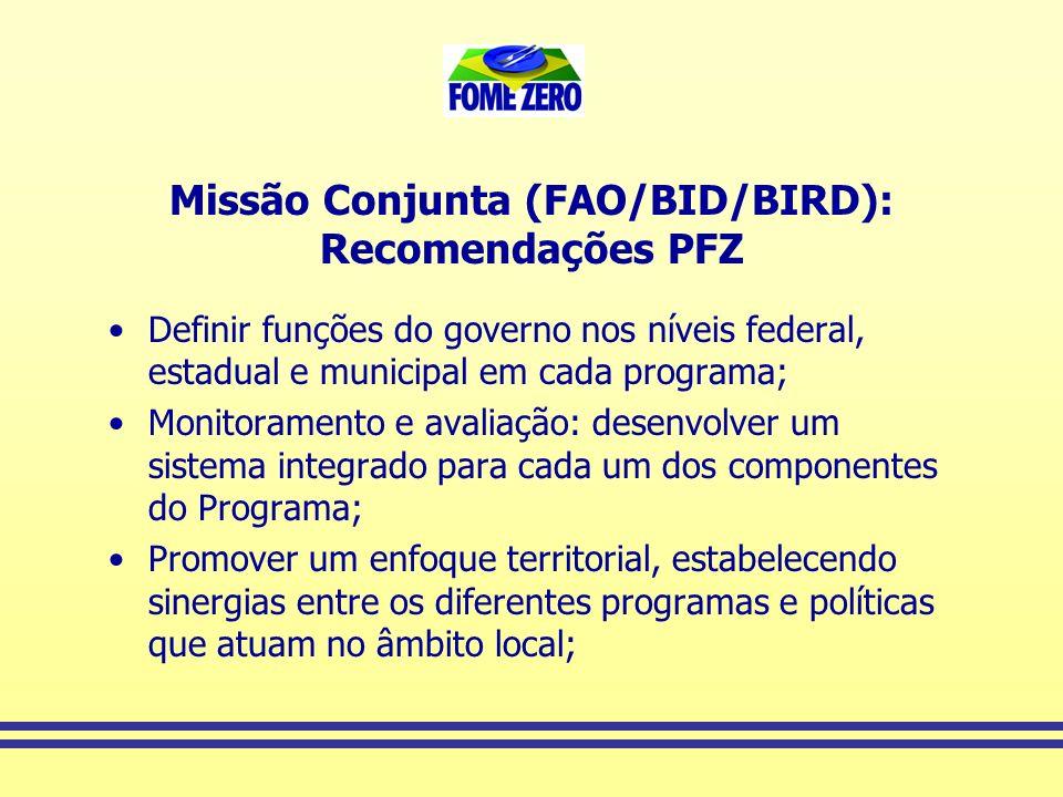 Missão Conjunta (FAO/BID/BIRD): Recomendações PFZ