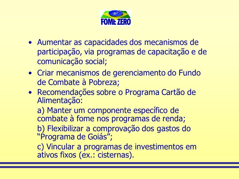 Aumentar as capacidades dos mecanismos de participação, via programas de capacitação e de comunicação social;