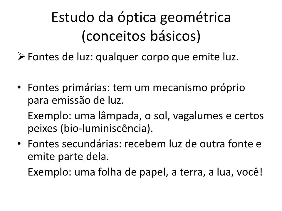 Estudo da óptica geométrica (conceitos básicos)