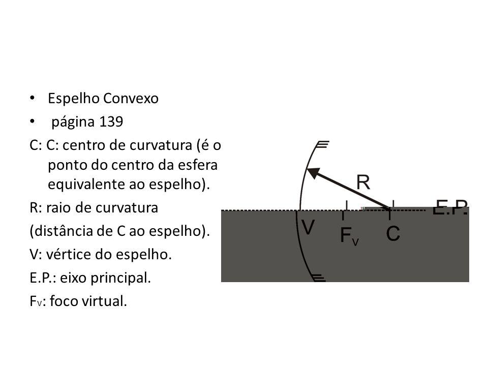 Espelho Convexo página 139. C: C: centro de curvatura (é o ponto do centro da esfera equivalente ao espelho).