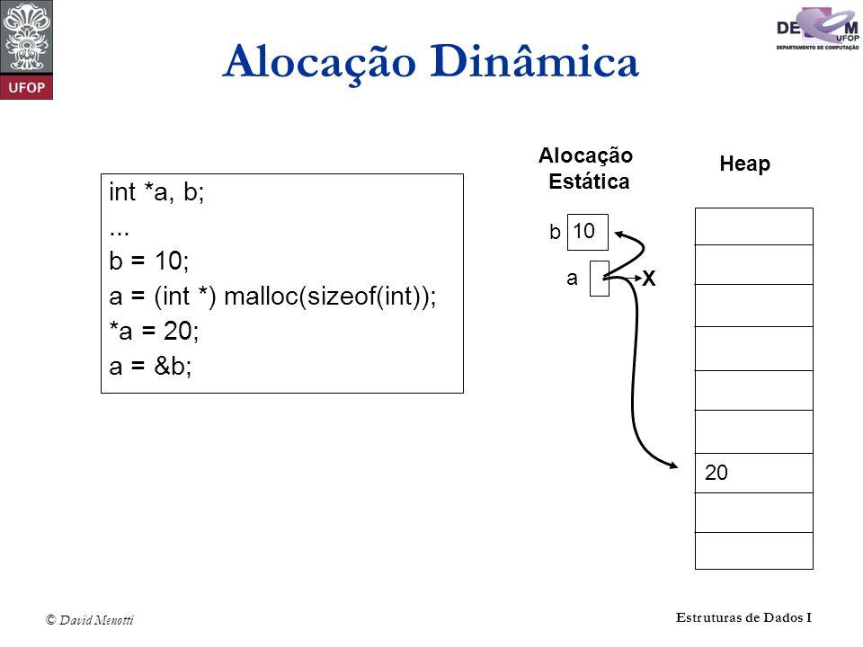 Alocação Dinâmica int *a, b; ... b = 10;