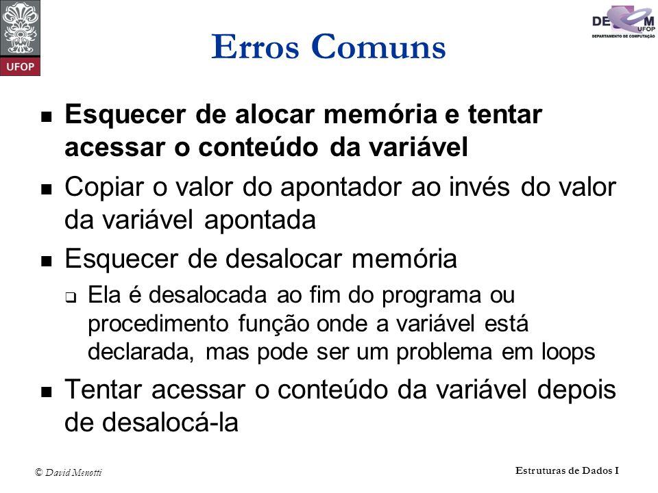 Erros Comuns Esquecer de alocar memória e tentar acessar o conteúdo da variável. Copiar o valor do apontador ao invés do valor da variável apontada.
