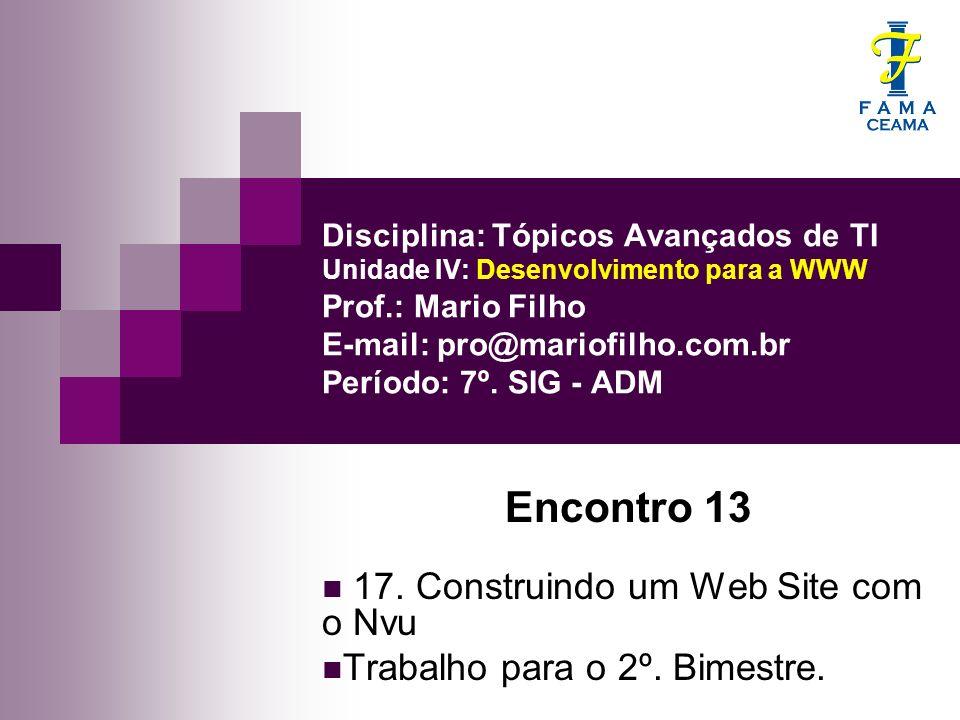 Encontro 13 17. Construindo um Web Site com o Nvu