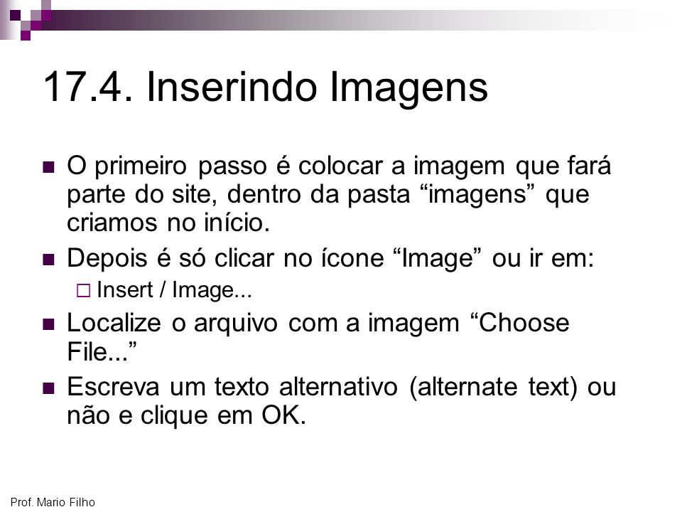 17.4. Inserindo Imagens O primeiro passo é colocar a imagem que fará parte do site, dentro da pasta imagens que criamos no início.