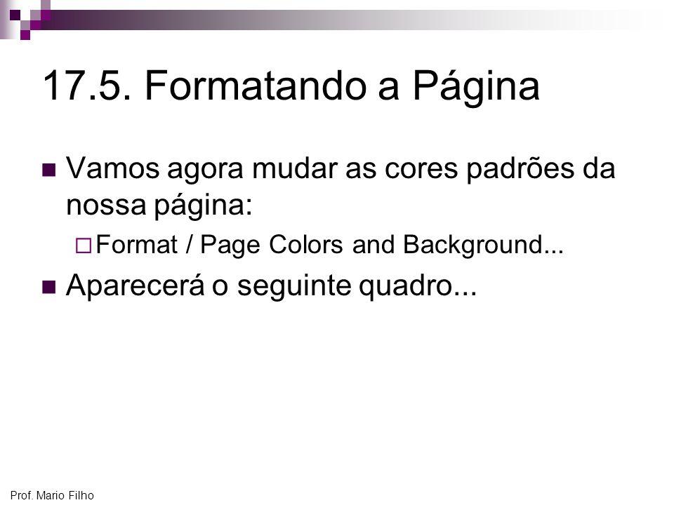 17.5. Formatando a Página Vamos agora mudar as cores padrões da nossa página: Format / Page Colors and Background...