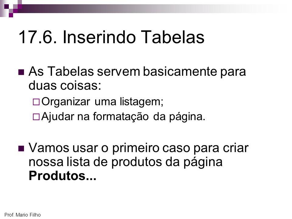 17.6. Inserindo Tabelas As Tabelas servem basicamente para duas coisas: Organizar uma listagem; Ajudar na formatação da página.