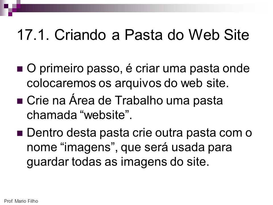 17.1. Criando a Pasta do Web Site