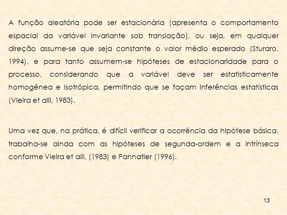 A função aleatória pode ser estacionária (apresenta o comportamento espacial da variável invariante sob translação), ou seja, em qualquer direção assume-se que seja constante o valor médio esperado (Sturaro, 1994), e para tanto assumem-se hipóteses de estacionaridade para o processo, considerando que a variável deve ser estatisticamente homogênea e isotrópica, permitindo que se façam inferências estatísticas (Vieira et alii, 1983).