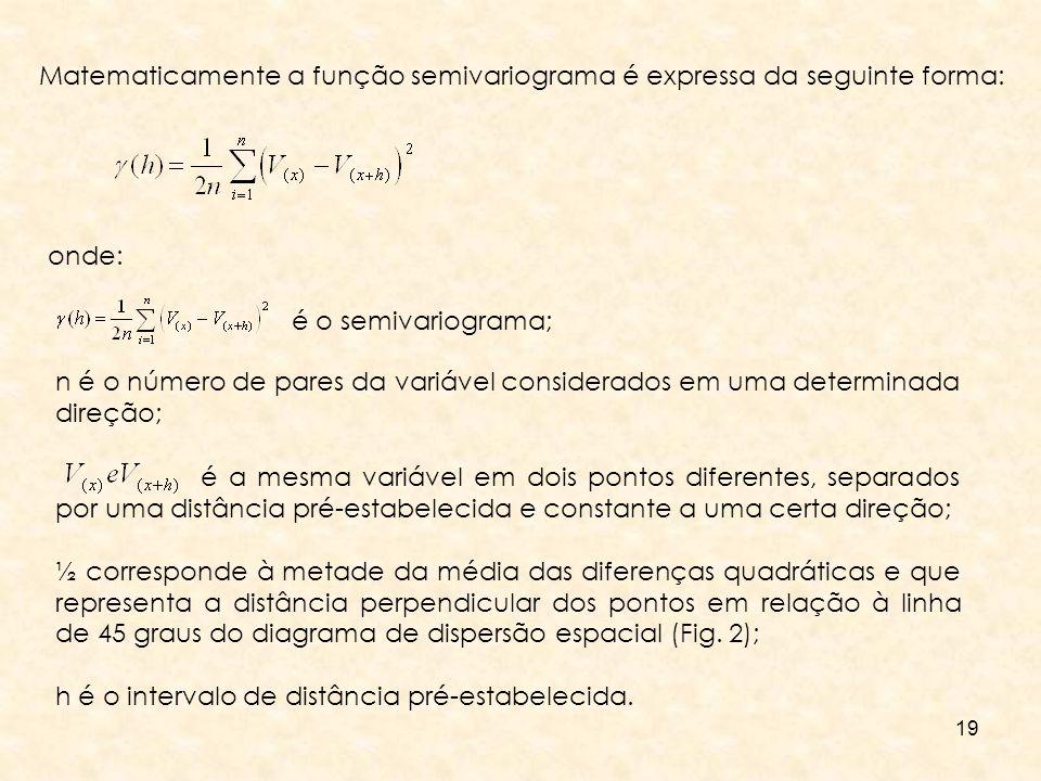 Matematicamente a função semivariograma é expressa da seguinte forma: