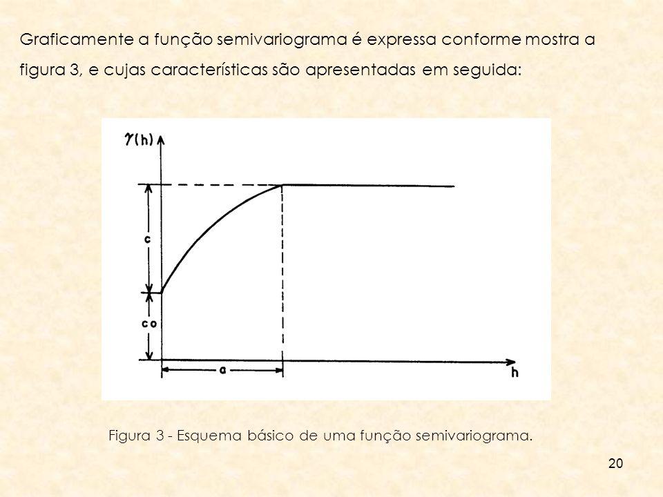 Graficamente a função semivariograma é expressa conforme mostra a figura 3, e cujas características são apresentadas em seguida: