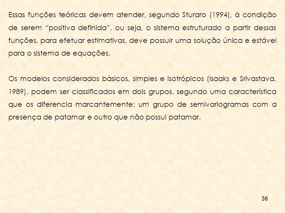 Essas funções teóricas devem atender, segundo Sturaro (1994), à condição de serem positiva definida , ou seja, o sistema estruturado a partir dessas funções, para efetuar estimativas, deve possuir uma solução única e estável para o sistema de equações.