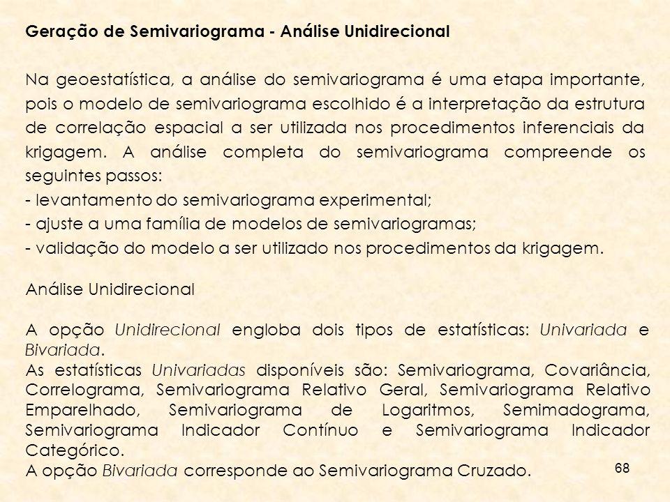 Geração de Semivariograma - Análise Unidirecional