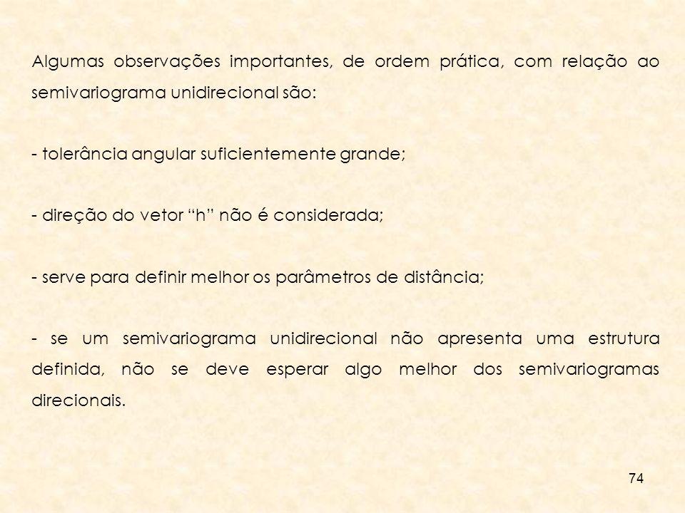 Algumas observações importantes, de ordem prática, com relação ao semivariograma unidirecional são: