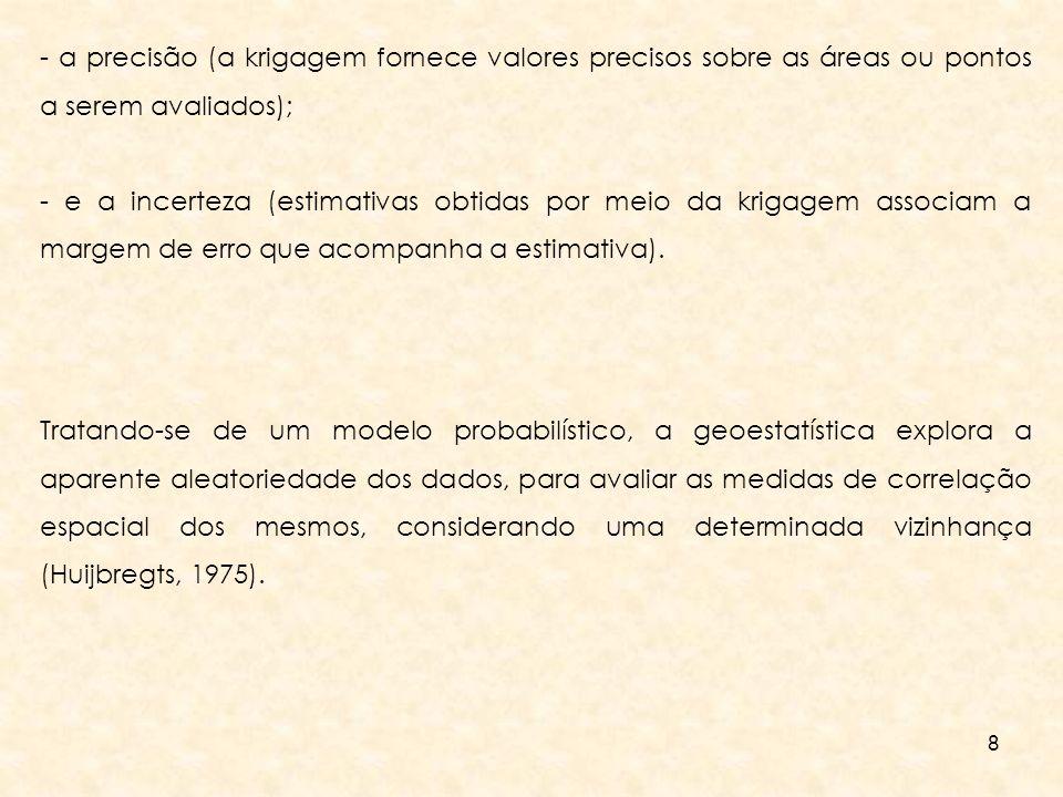 - a precisão (a krigagem fornece valores precisos sobre as áreas ou pontos a serem avaliados);