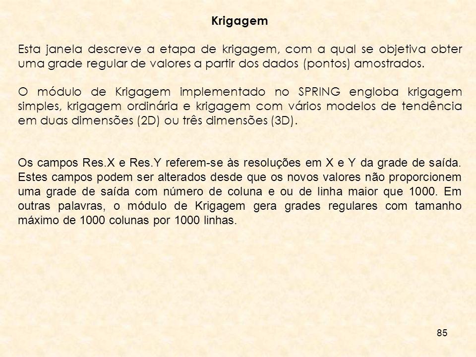 Krigagem Esta janela descreve a etapa de krigagem, com a qual se objetiva obter uma grade regular de valores a partir dos dados (pontos) amostrados.