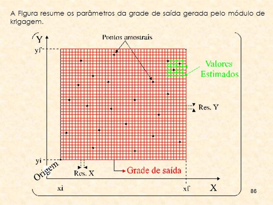 A Figura resume os parâmetros da grade de saída gerada pelo módulo de krigagem.
