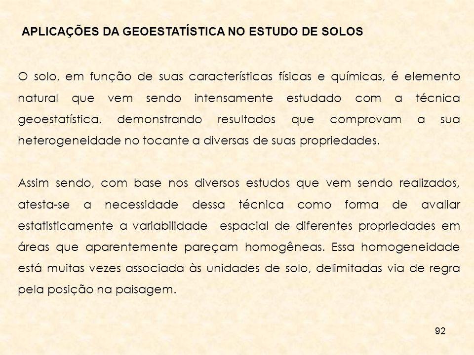 APLICAÇÕES DA GEOESTATÍSTICA NO ESTUDO DE SOLOS