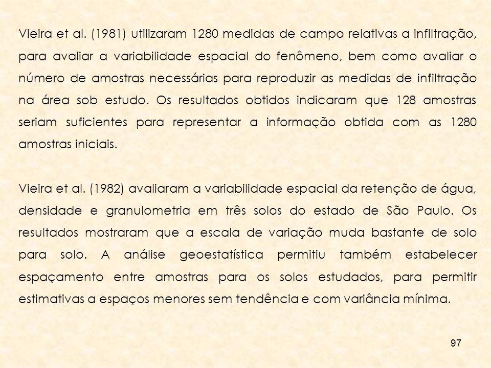 Vieira et al. (1981) utilizaram 1280 medidas de campo relativas a infiltração, para avaliar a variabilidade espacial do fenômeno, bem como avaliar o número de amostras necessárias para reproduzir as medidas de infiltração na área sob estudo. Os resultados obtidos indicaram que 128 amostras seriam suficientes para representar a informação obtida com as 1280 amostras iniciais.