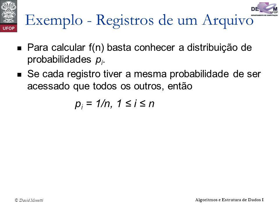 Exemplo - Registros de um Arquivo