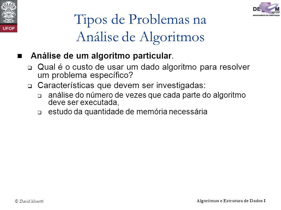 Tipos de Problemas na Análise de Algoritmos