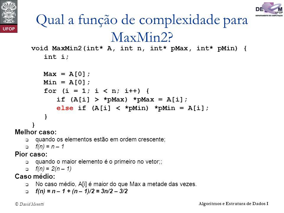 Qual a função de complexidade para MaxMin2