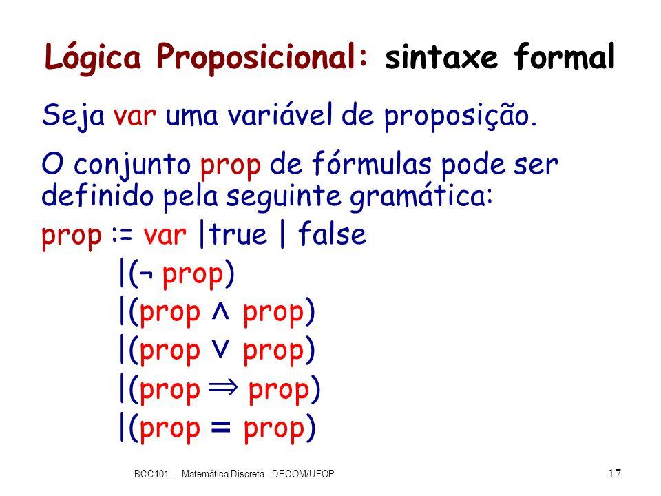 Lógica Proposicional: sintaxe formal