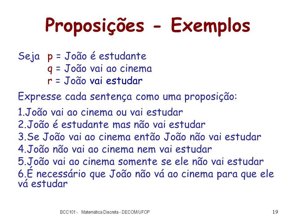 Proposições - Exemplos