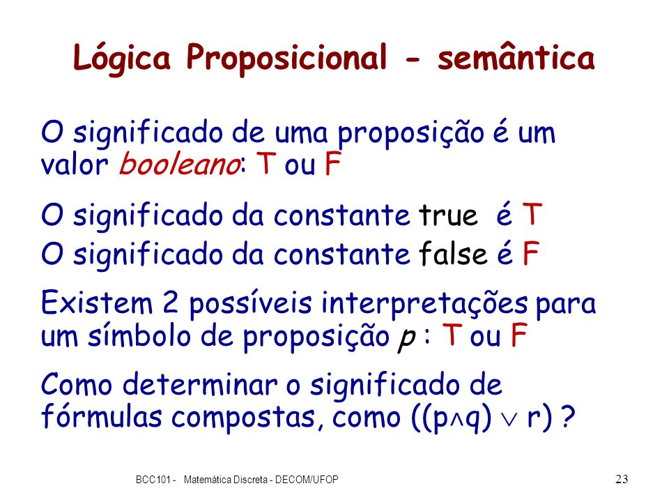 Lógica Proposicional - semântica
