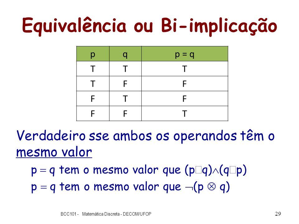 Equivalência ou Bi-implicação