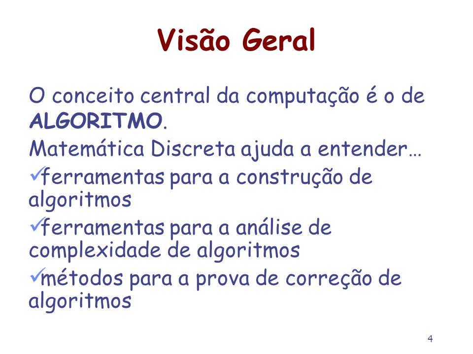 Visão Geral O conceito central da computação é o de ALGORITMO.