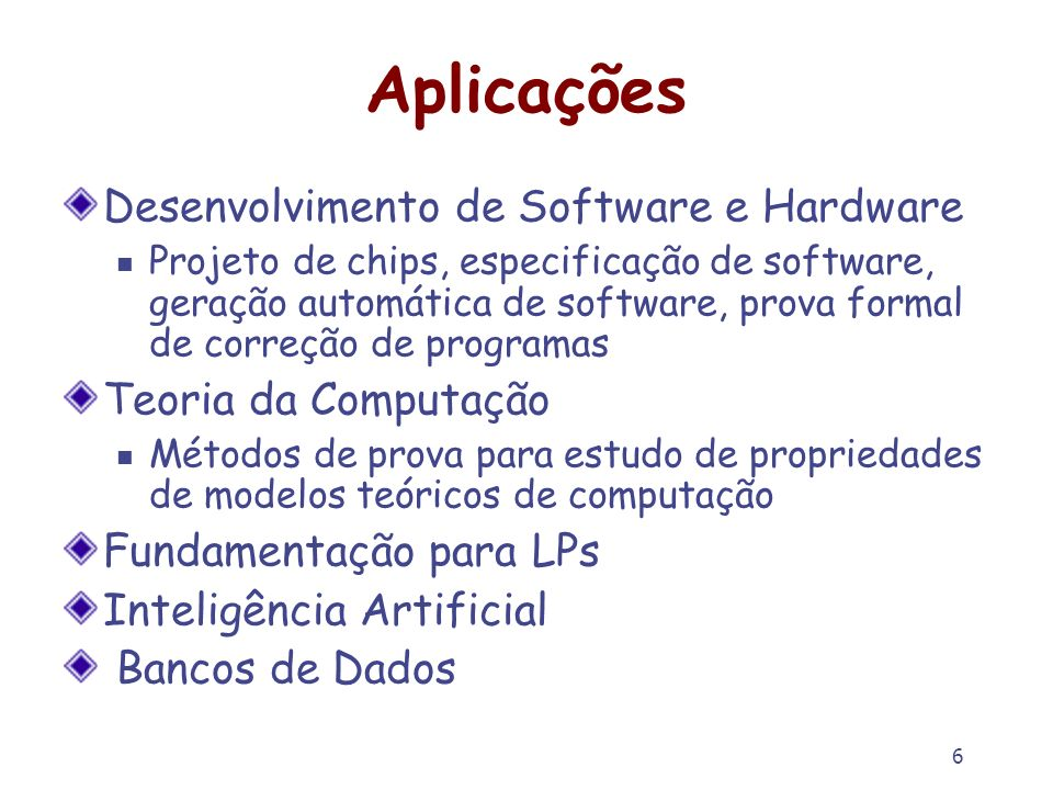 Aplicações Desenvolvimento de Software e Hardware Teoria da Computação