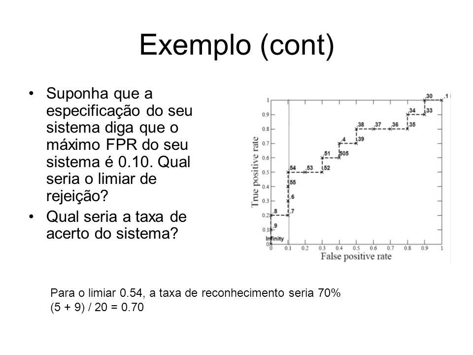 Exemplo (cont) Suponha que a especificação do seu sistema diga que o máximo FPR do seu sistema é 0.10. Qual seria o limiar de rejeição