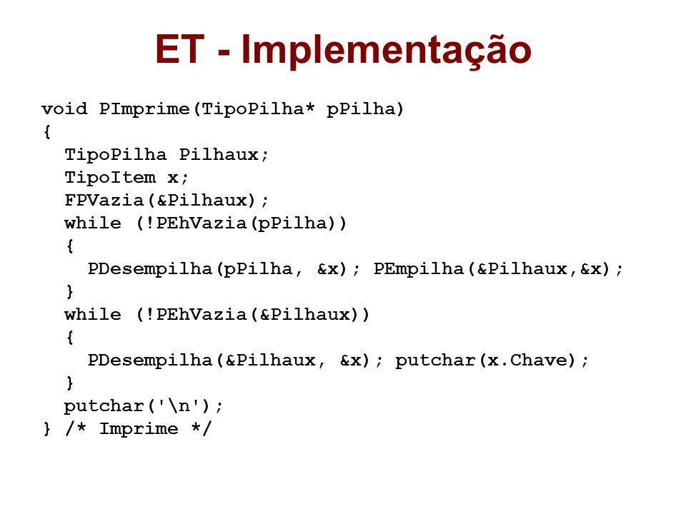 ET - Implementação void PImprime(TipoPilha* pPilha) {