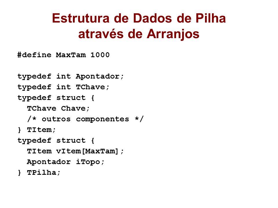 Estrutura de Dados de Pilha através de Arranjos