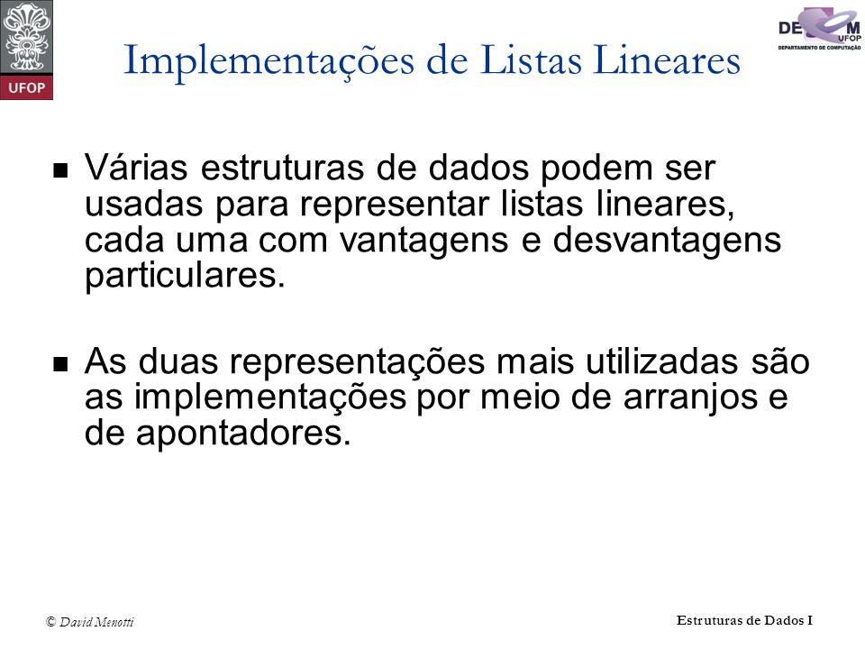 Implementações de Listas Lineares