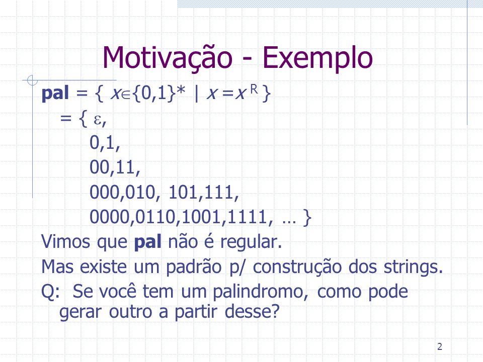 Motivação - Exemplo pal = { x{0,1}* | x =x R } = { e, 0,1, 00,11,