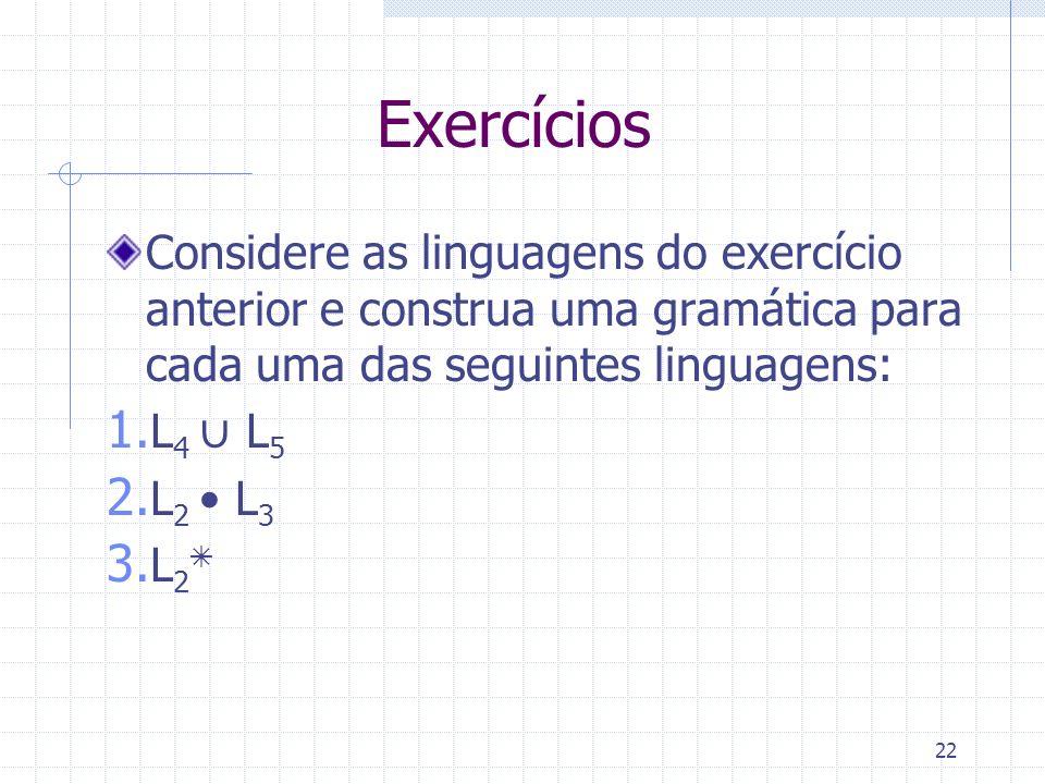 Exercícios Considere as linguagens do exercício anterior e construa uma gramática para cada uma das seguintes linguagens: