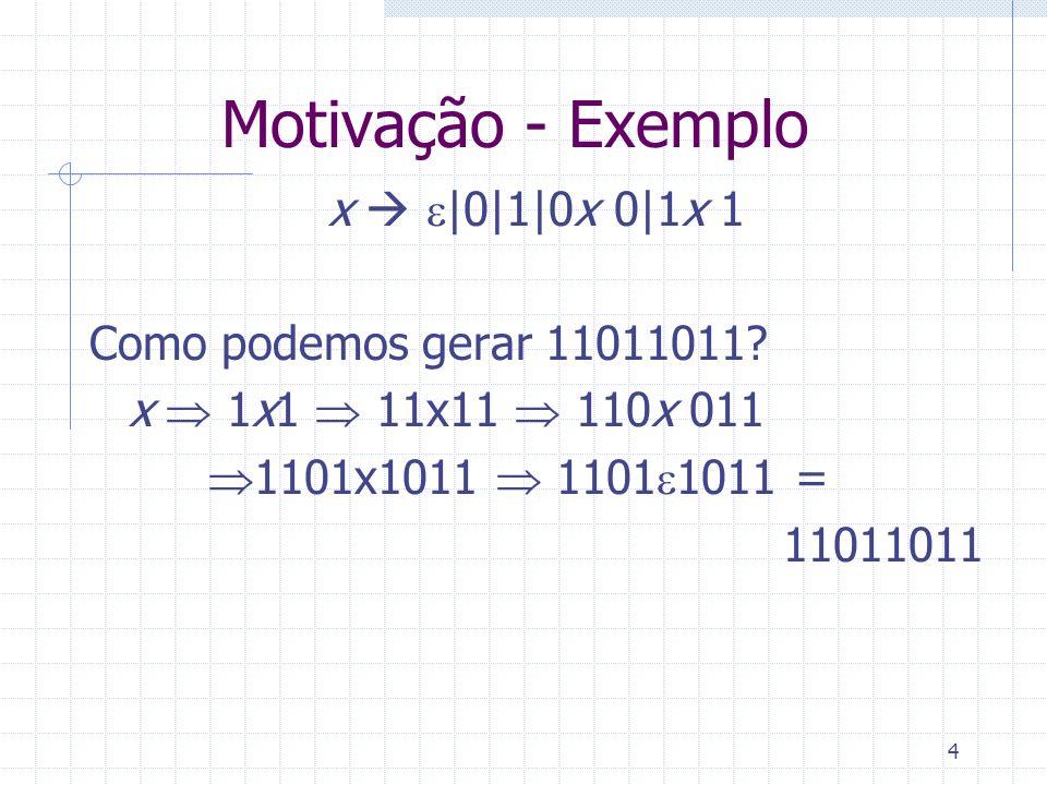 Motivação - Exemplo x  e|0|1|0x 0|1x 1 Como podemos gerar 11011011