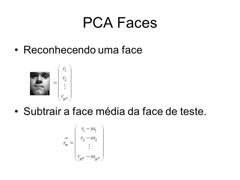 PCA Faces Reconhecendo uma face