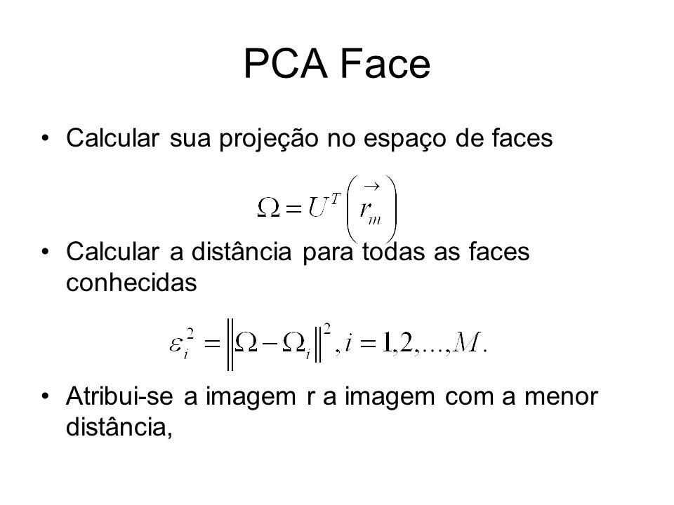 PCA Face Calcular sua projeção no espaço de faces