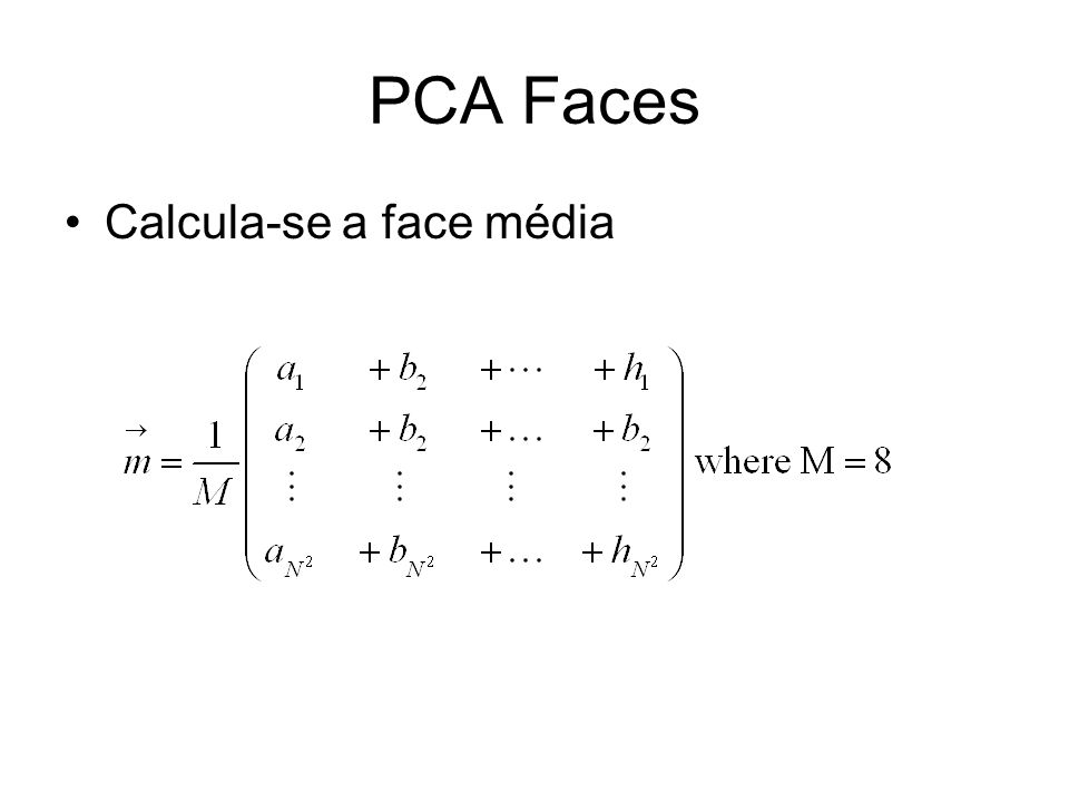 PCA Faces Calcula-se a face média