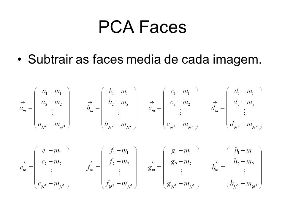 PCA Faces Subtrair as faces media de cada imagem.