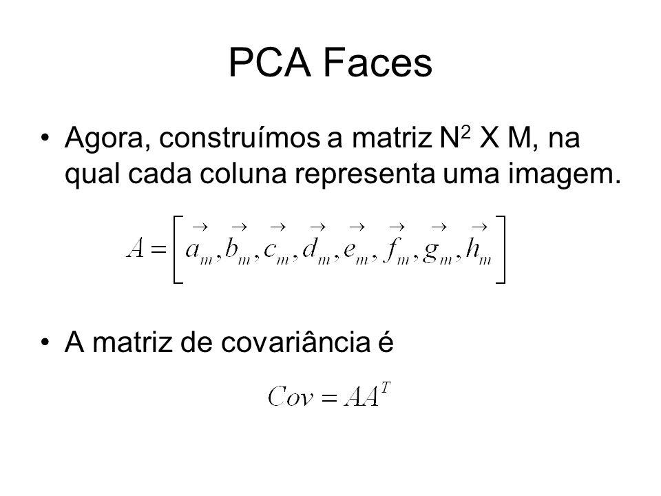 PCA FacesAgora, construímos a matriz N2 X M, na qual cada coluna representa uma imagem.