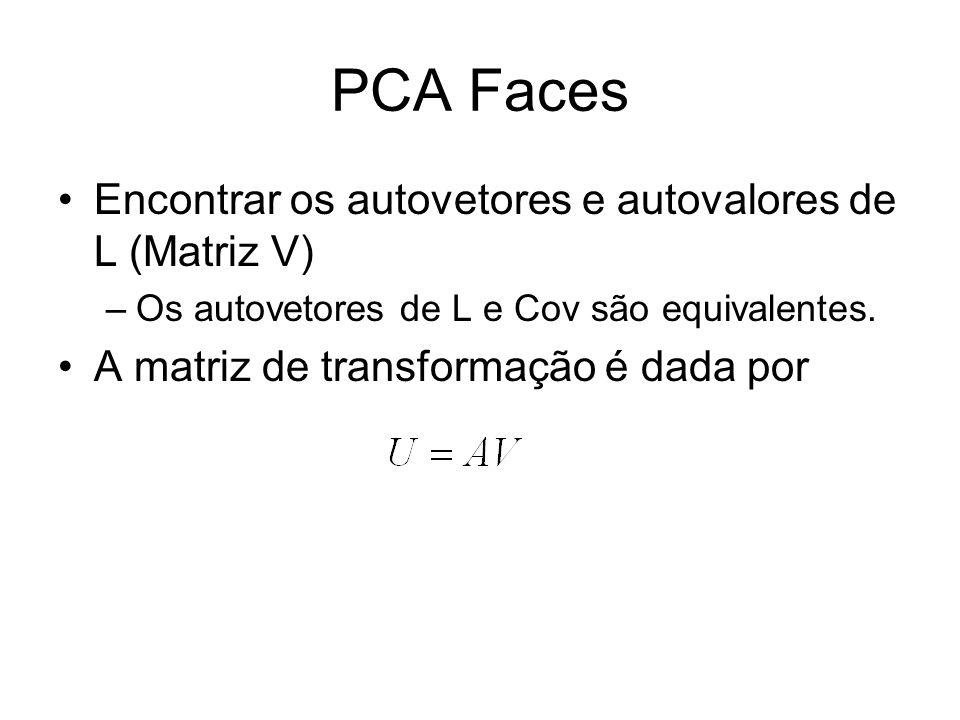 PCA Faces Encontrar os autovetores e autovalores de L (Matriz V)